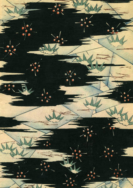 Woodblock Painting - Vintage Japanese Illustration Of A Black And White Abstract Landscape by Japanese School