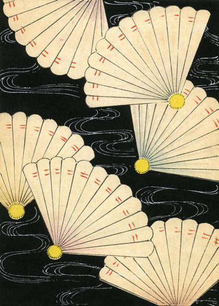 Woodblock Painting - Vintage Japanese Woodblock Print Of White Fans On A Black Background by Japanese School