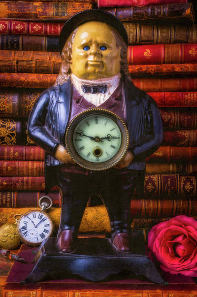 Wall Art - Photograph - Vintage John Bull Clock With Books by Garry Gay