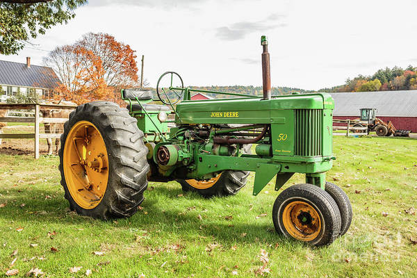 Photograph - Vintage Green 50 Tractor by Edward Fielding
