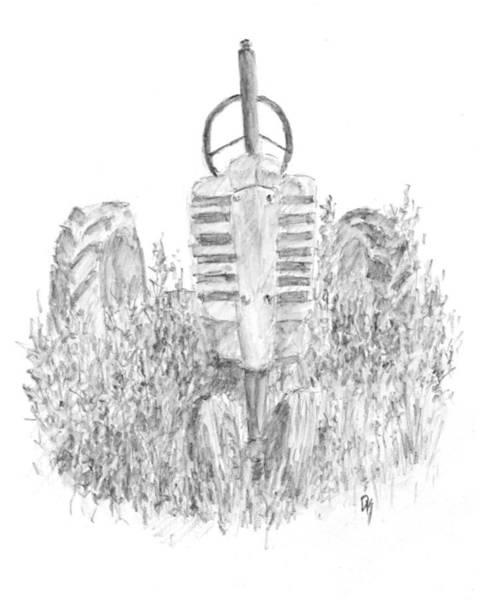 Drawing - Vintage John Deere Tractor Sketch by David King