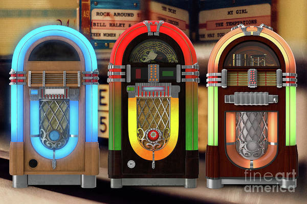 Digital Art - Vintage Jukeboxes by Edward Fielding