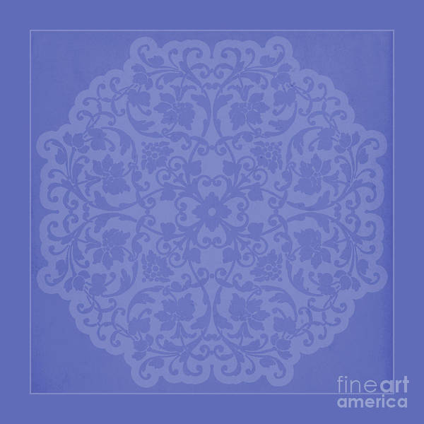 Girly Mixed Media - Vintage Lace Silhouette In Deep Periwinkle Blue by Tina Lavoie