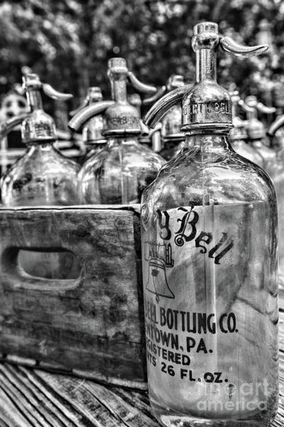 Wall Art - Photograph - Vintage Liberty Bell Seltzer Bottle In Black And White by Paul Ward