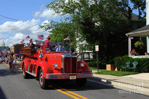 Photograph - Vintage Mack Fire Truck At Independence Day Parade Catonsville by James Brunker