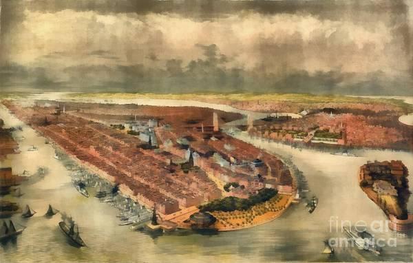 Manhattan Skyline Painting - Vintage Manhattan Island by Edward Fielding