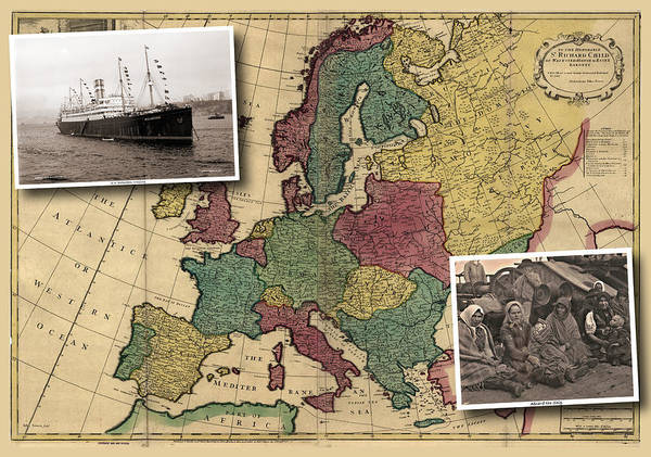 Vintage Map Europe Immigrants Art Print