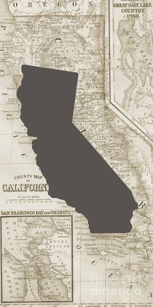 Digital Art - Vintage Map Of California Phone Case by Edward Fielding