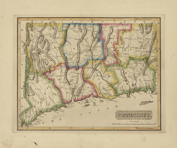 Wall Art - Painting - Antique Map Of Connecticut by Fielding Lucas