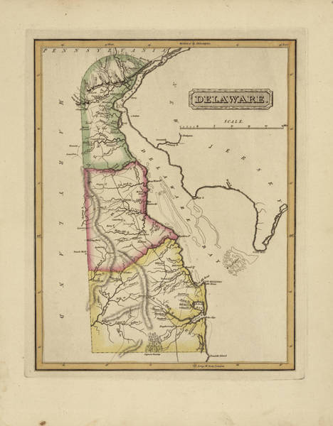 Wall Art - Painting - Antique Map Of Delaware by Fielding Lucas