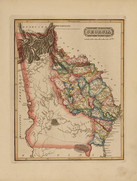 Wall Art - Painting - Antique Map Of Georgia by Fielding Lucas