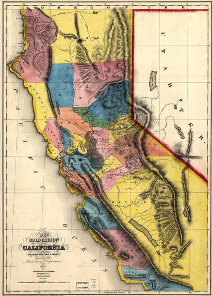 Deposit Drawing - Vintage Map Of Gold Regions In California  by CartographyAssociates