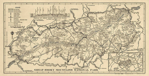 Wall Art - Drawing - Vintage Map Of Great Smoky Mountains National Park From 1941 by Blue Monocle