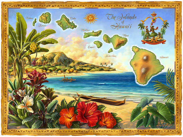 Mixed Media - Vintage Map Of Hawaii by Anne Wertheim