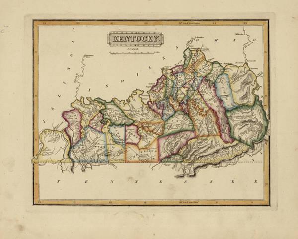 Wall Art - Painting - Antique Map Of Kentucky by Fielding Lucas