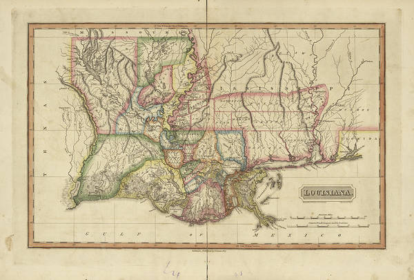 Wall Art - Painting - Antique Map Of Louisiana by Fielding Lucas