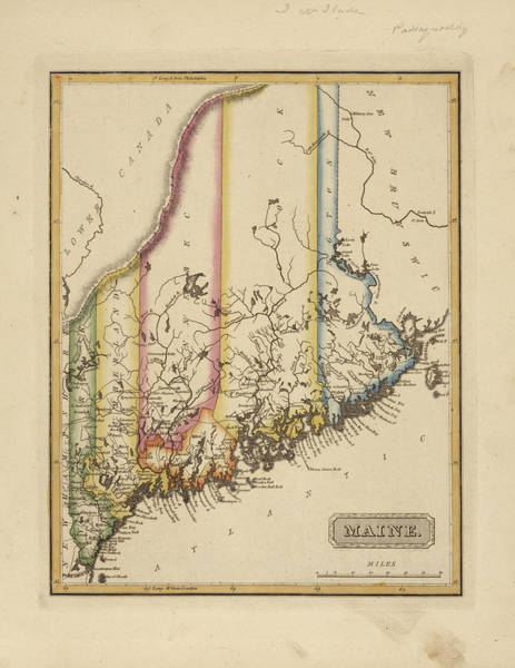 Wall Art - Painting - Antique Map Of Maine by Fielding Lucas