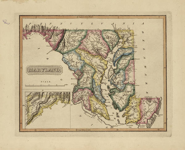 Wall Art - Painting - Antique Map Of Maryland by Fielding Lucas