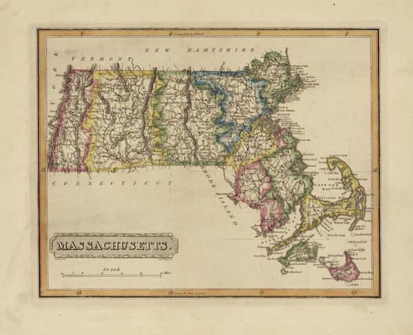 Wall Art - Painting - Antique Map Of Massachusetts by Fielding Lucas
