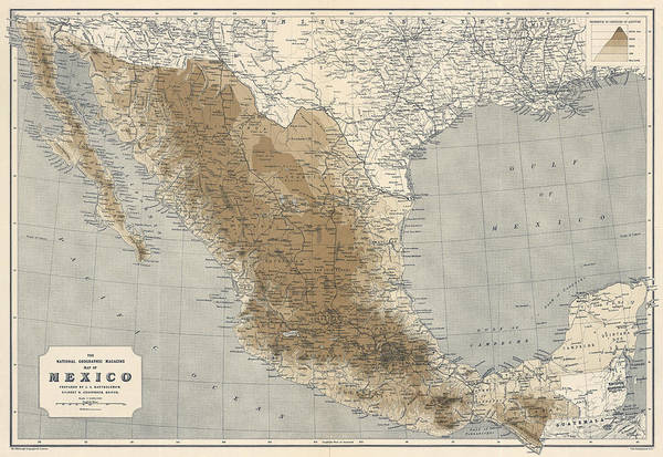 Wall Art - Drawing - Vintage Map Of Mexico - 1911 - National Geographic by Blue Monocle