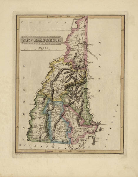 Wall Art - Painting - Antique Map Of New Hampshire by Fielding Lucas