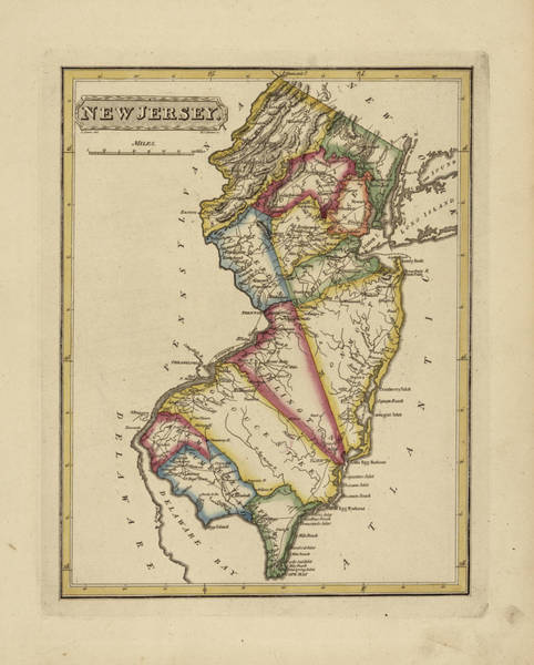 Wall Art - Painting - Antique Map Of New Jersey by Fielding Lucas