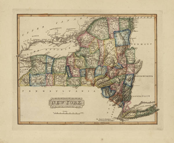 Wall Art - Painting - Antique Map Of New York by Fielding Lucas