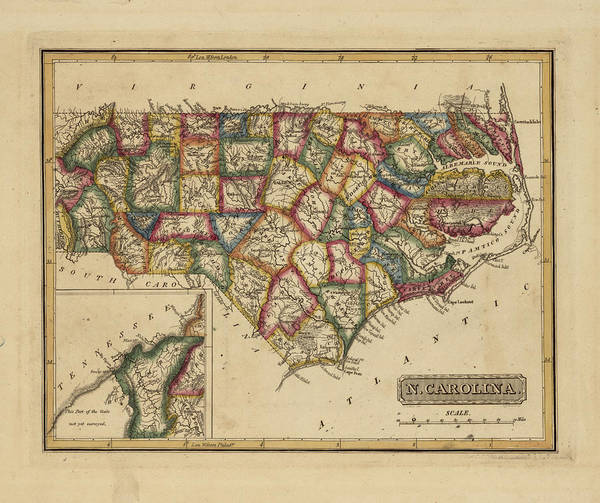 Wall Art - Painting - Antique Map Of North Carolina by Fielding Lucas