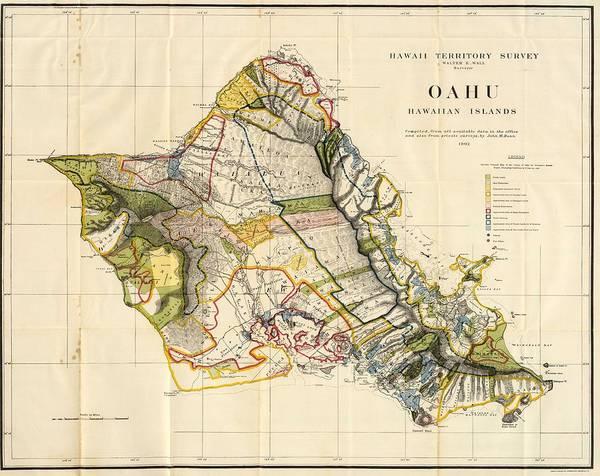 Oahu Drawing - Vintage Map Of Oahu Hawaii - 1906 by CartographyAssociates