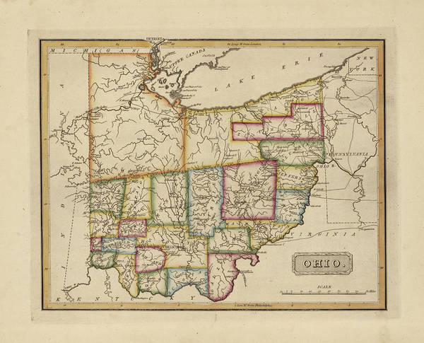 Wall Art - Painting - Antique Map Of Ohio by Fielding Lucas