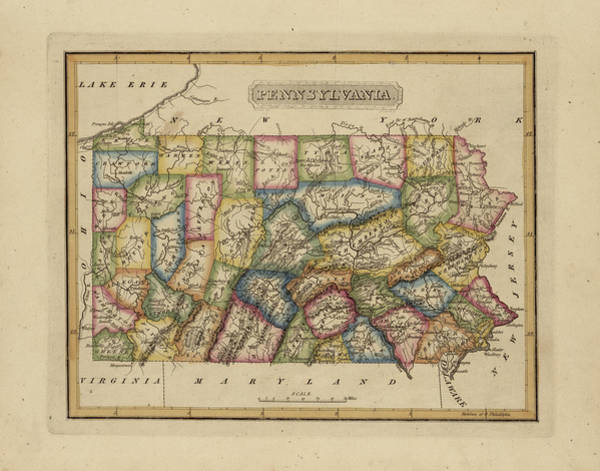 Wall Art - Painting - Antique Map Of Pennsylvania by Fielding Lucas
