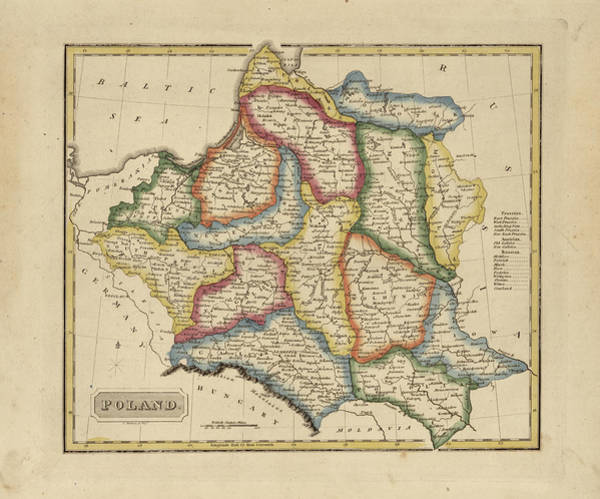 Poland Painting - Antique Map Of Poland by Fielding Lucas
