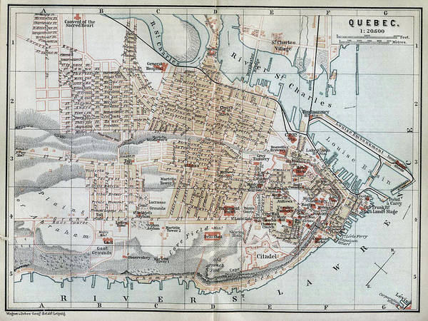 Quebec City Drawing - Vintage Map Of Quebec City - 1894 by CartographyAssociates