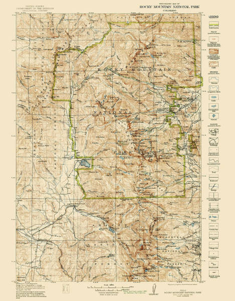 Wall Art - Drawing - Vintage Map Of Rocky Mountain National Park - Colorado - 1919/1940 by Blue Monocle