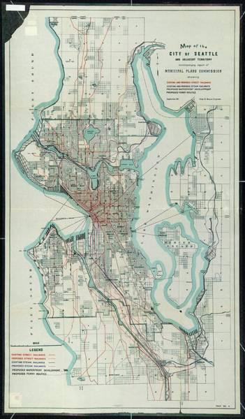 Wa Drawing - Vintage Map Of Seattle Washington - 1911 by CartographyAssociates