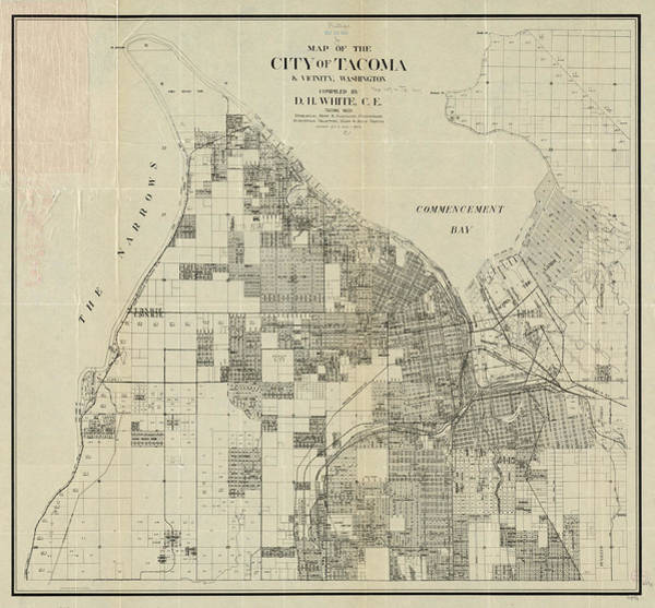 Wa Drawing - Vintage Map Of Tacoma Washington - 1907 by CartographyAssociates