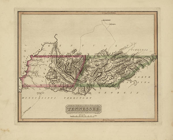 Wall Art - Painting - Antique Map Of Tennessee by Fielding Lucas