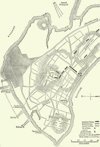 Warfare Drawing - Vintage Map Of The Battle Of Bunker Hill by American School