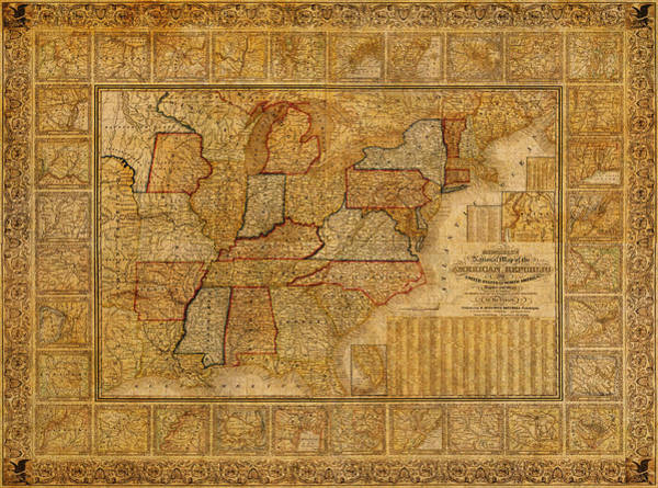 Map Of United States Mixed Media - Vintage Map Of The United States Of America Usa Circa 1845 On Worn Distressed Parchment by Design Turnpike