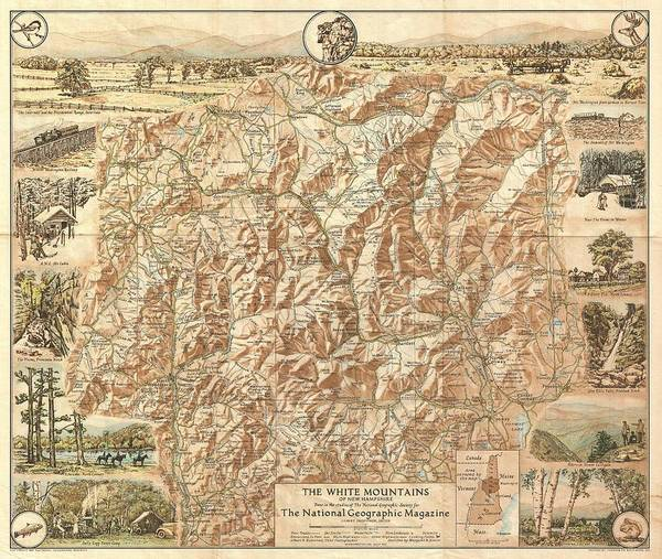 Hiking Drawing - Vintage Map Of The White Mountains  by CartographyAssociates