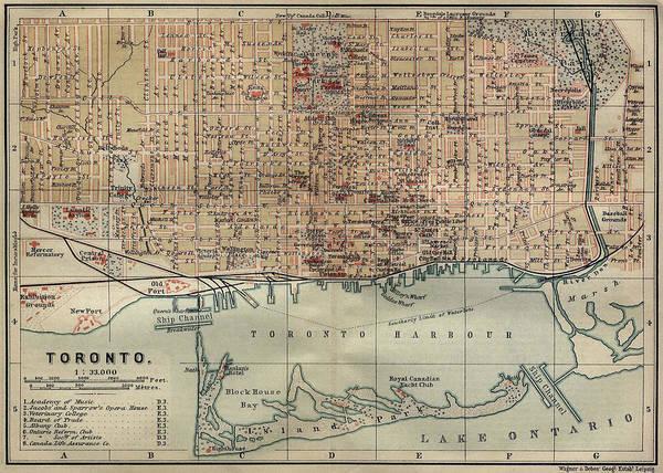 Toronto Drawing - Vintage Map Of Toronto - 1894 by CartographyAssociates