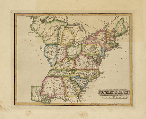 Wall Art - Painting - Antique Map Of United States by Fielding Lucas