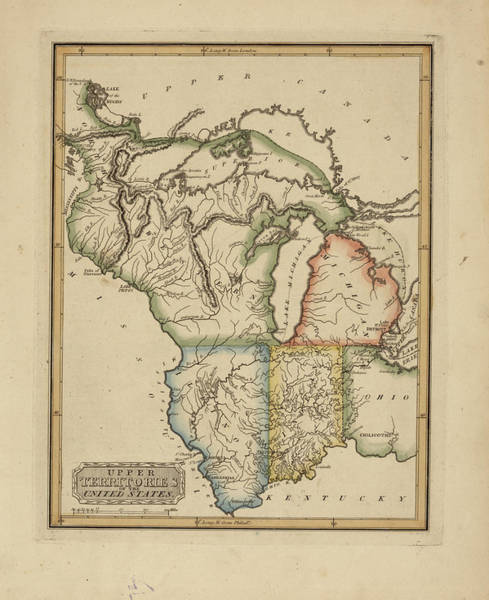 Wall Art - Painting - Antique Map Of Upper Territories Of The United States by Fielding Lucas