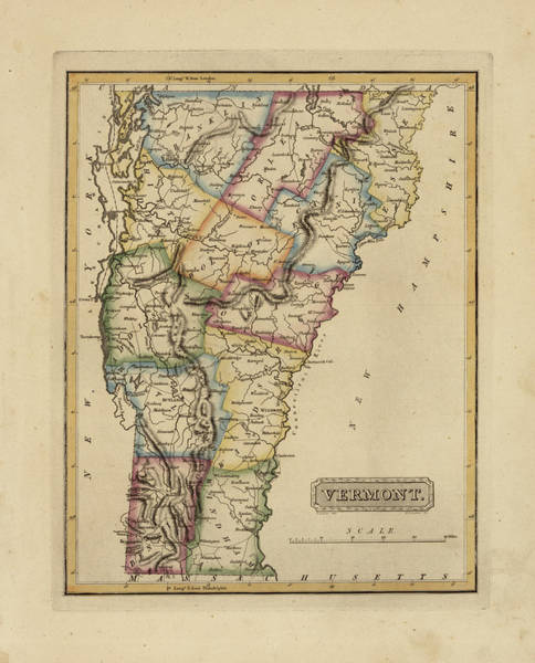 Wall Art - Painting - Antique Map Of Vermont by Fielding Lucas