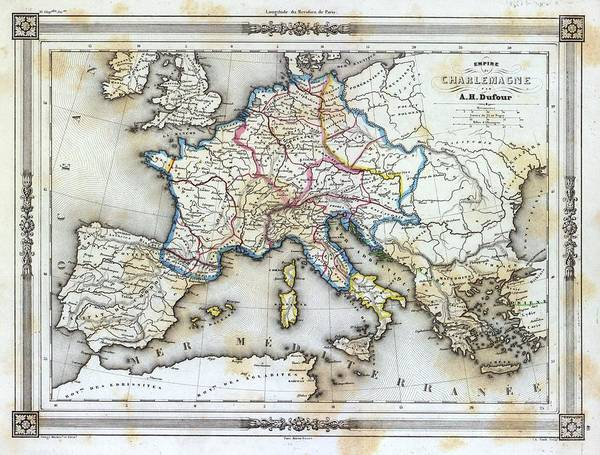 Wall Art - Photograph - Vintage Map Of Western Europe by Gillham Studios