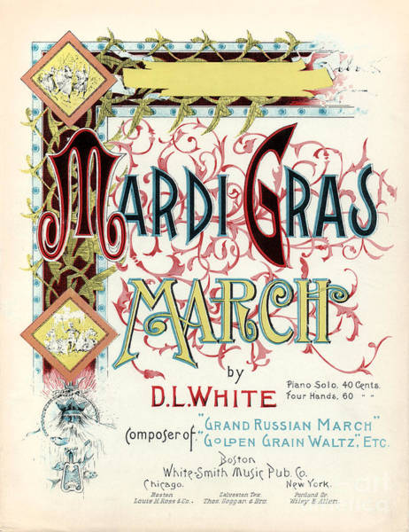 Steam Boat Photograph - Vintage Mardi Gras March Poster by Jon Neidert
