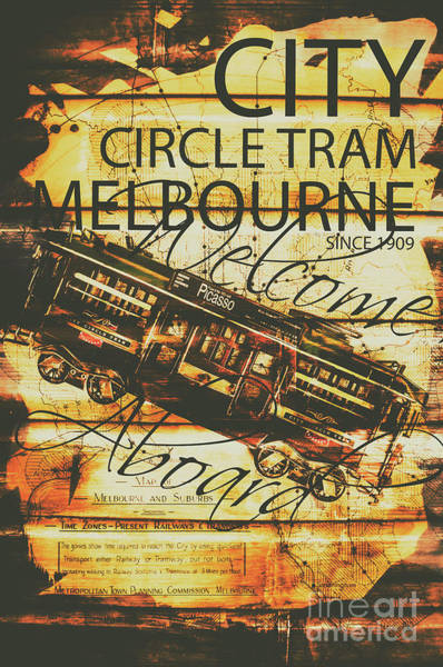 Tram Wall Art - Photograph - Vintage Melbourne Tram Tin Sign by Jorgo Photography - Wall Art Gallery