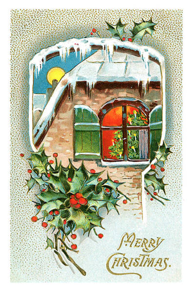 Flower Wall Art - Mixed Media - Vintage Merry Christmas Card by Zal Latzkovich