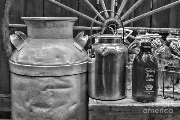 Milk Farm Restaurant Photograph - Vintage Milk In Black And White by Paul Ward