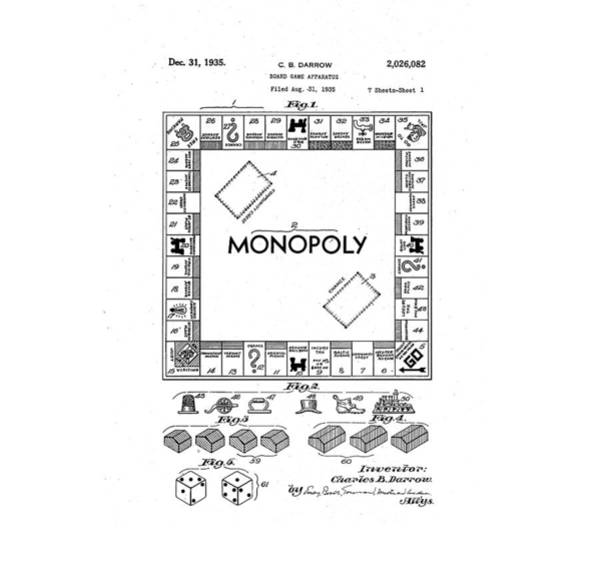 Monopoly Photograph - Vintage Monopoly Patent 1935 by Bill Cannon